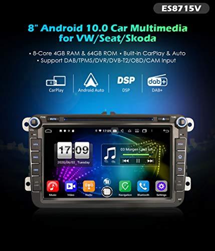 Autoradio Erisin ES8715V 8' DSP Android 10.0& Auto GPS DAB+ per VOLKSWAGEN Seat Skoda