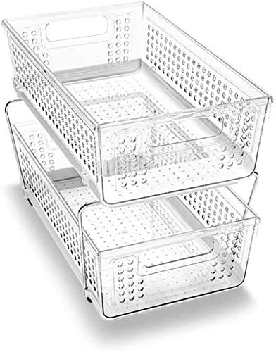 madesmart 29091 Large 2-Tier Organizer Without Dividers- Clear   Bath Collection   Slide-Out Baskets with Handles   S...