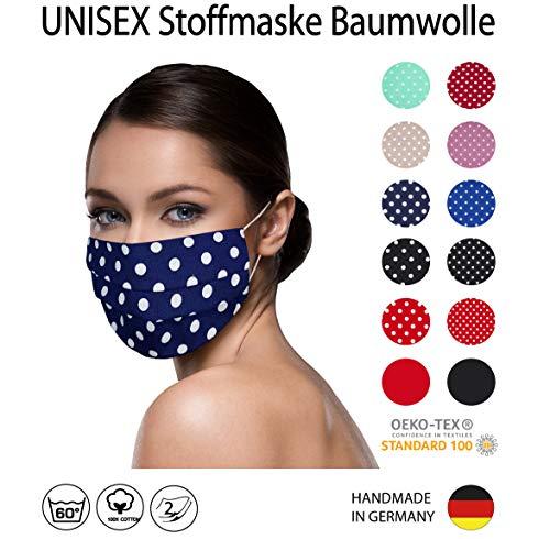 DUNKELBLAU weiß große Punkte Facies gepunktet, Unisex, wiederverwendbar 60 Grad waschbar aus Baumwolle 2-lagige Stoff Facies hergestellt in Berlin sofort lieferbar Punkte 7mm