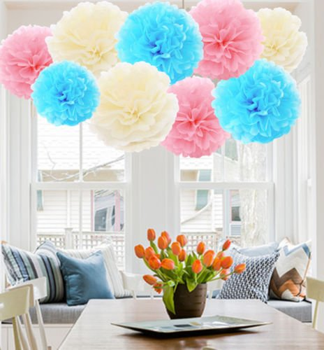 A Liittle Tree 9/12 Pcs Mixed Tissue Paper Pompoms Pom Poms Hanging Garland Wedding Party Decor (Pink & Blue Shade)