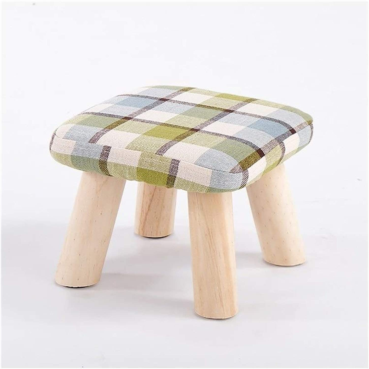 Solid Wood Footstool Sofa Stool High Legs Small Bench Creative Foyer shoes Stool JINRONG (color   D, Size   28  28 cm)
