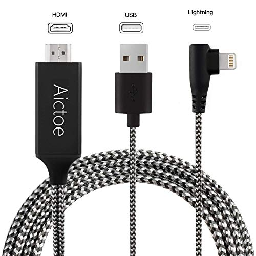 Compatible with iPhone iPad to HDMI Adapter Cable, Aictoe 6.6ft Digital AV Adapter Cord Support 1080P HDTV Compatible with iPhone Xs MAX XR X 8 7 6s Plus iPad to TV Projector Monitor