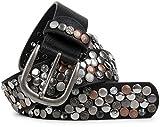 styleBREAKER Nietengürtel im Vintage Design, verschiedenen Nieten und Strass, kürzbar, Damen 03010051, Farbe:Schwarz/Kupfer;Größe:95cm