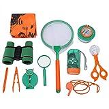 Keenso Juego de Juguetes de Aventura, Kit de exploración al Aire Libre para niños Binoculares de Juguete Lupa Camping de Aventura