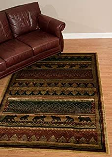 United Weavers of America Genesis Bear Walk Lodge Rug - 1ft. 10in. x 3ft. Multicolor Southwest Style Olefin Rug with Twisted Heatset Construction