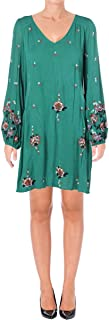 Free People Women's Oxford Embroidered Mini Green Combo X-Small