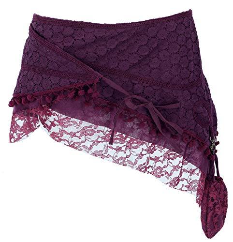 GURU SHOP Goa Minirock, Wickelrock, Cacheur, Damen, Aubergine, Baumwolle, Size:M/L (40), Röcke/Kurz Alternative Bekleidung