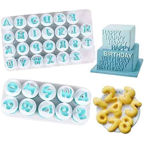 Alphabet Letter Numbers Cake Mould Set, BENBO 36 Pieces Fondant Cake Sugar Craft...