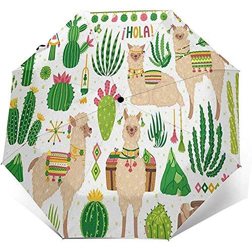 Automatischer Dreifach-Regenschirm Cute Cactus Llama Printing Winddicht Kompakt Automatischer Dreifach-Regenschirm Mit Öffnung Sonnenschutz Uv