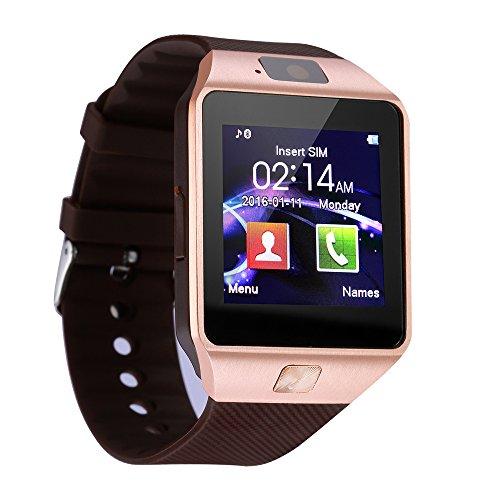Orologi intelligenti, orologio KXCD Bluetooth Smart per fitness DZ09- con GPS, fotocamera, per Smartphone Android (oro)