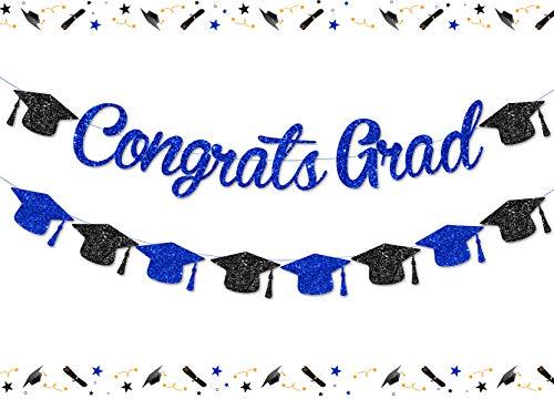 Decoración de fiesta de graduación Congrats Grad 2021 Bandera azul marino con purpurina, banderines para Kindergarten Primary Seniors High School University Class of 2021 Supplies