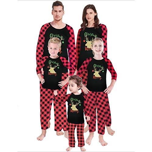 Christmas Family Suit, SHOBDW Parent-Child Xmas Clothes Set Home Wear Pajamas Men Women Kids Toddler Baby Warm Pyjamas Sleepwear Nightdress Romper Jumpsuit Gifts(Dad-Red,L)