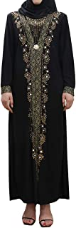 Women Muslim Dress Middle East Arabian Robe Islamic Abaya Long Sleeve Rhinestones Embroidered Cardigan Dress