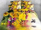 RYQRP Housse de Couette 260x240 Papillon Fleur 3D Parure de Lit avec Fermeture à Glissière et 2 Taies d'oreiller pour Chambre...