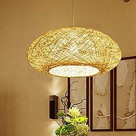 Lustre Main En Bambou En Osier De Rotin Vague Lampes Pendentif Luminaire Rustique Vintage Japonais Hauteur Réglable E27…
