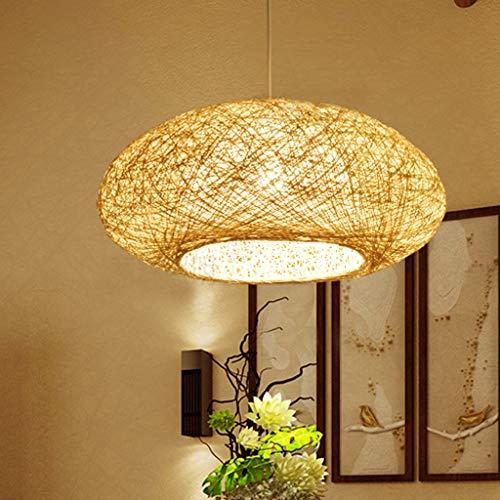 Lámpara Colgante Tejida Vintage Lámpara De Mimbre De Bambú Natural Lámpara Hecha A Mano De Jardín E27 Creativo Lámpara Luces Colgantes Ajustables En Altura Salón De Té Dormitorio Sala Estar Café,50cm