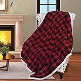 Manta reversible y supersuave de 152 x 127 cm con estampado de cuadros negros y grises, ideal para cama o sofá, de Catalonia, microfibra, Rojo, 152 x 127 cm