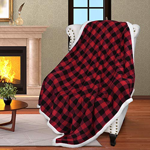 Buffalo Plaid Sherpa Throw Blanket,Red Black Checkered Throws for Bed Couch Sofa | Soft, Warm, Comfy, Fuzzy, Snuggle | 60x50 Inches, Christmas Blanket