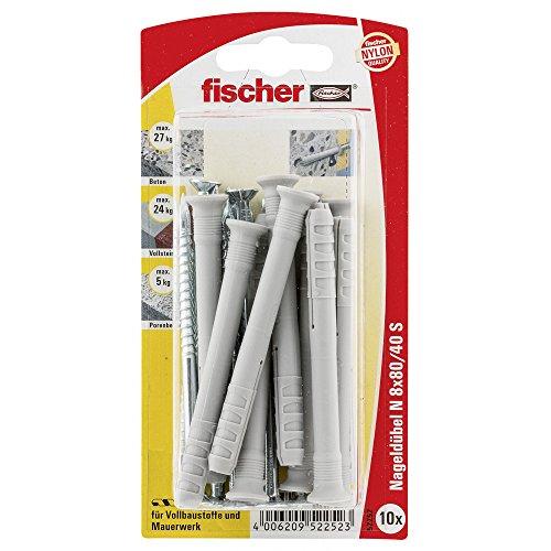 Fischer nagelplug N S SBKaart, 10 stuks, 8 x 80/40 mm, 52252