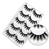 GGOKOK False Eyelashes 3D Faux Mink Eyelashes Handmade Luxurious Volume Fluffy Natural False Eyelashes Fluffy Long Soft Reusable Eyes Lashes Dramatic Eyelashes 5 Pairs