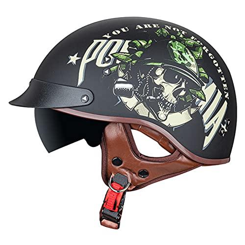 Casco Moto Abierto Hombre Mujer, Retro Cascos Moto Half Helmet con Visera, ECE Homologado Casco Moto Jet para Scooter Mofa Crash (Color : F, Size : S(55-56CM))