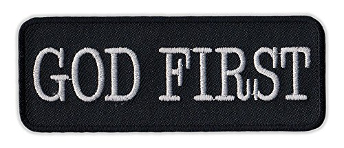 Motorcycle Jacket Embroidered Patch - God First - Vest, Cut, Leathers - 4' x 1.5'
