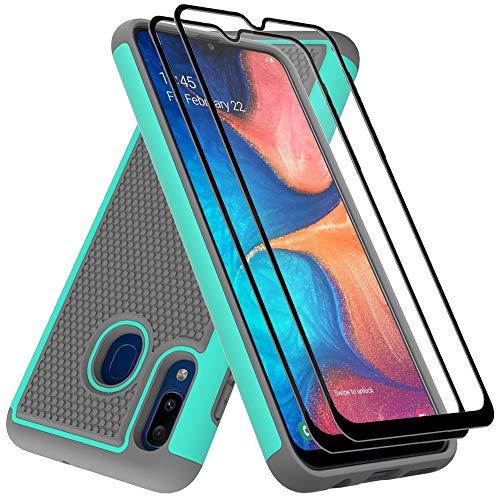 Galaxy A20 Case, Samsung A20 case, Galaxy A30 Case with Tempered Glass Screen Protector,Dahkoiz Armor Defender Cover Galaxy A20 Phone Case Dual Layer Protective Case for Samsung Galaxy A20/A30, Mint