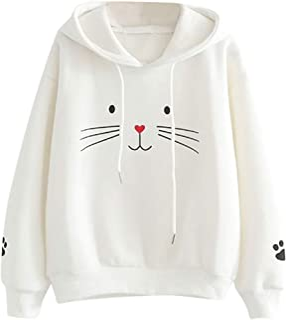 Sudadera con Capucha para Mujer Moda Manga Larga Casual Impresión de Gato Sudaderas Invierno Jersey con Capucha Mujer Otoñ...