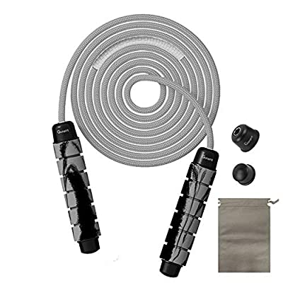 GonaFit Jump Rope, Weighted Jump Rope Workout for Women and Men, Tangle-Free Cotton Jump Rope with Soft Foam Handles, Skipping Rope for Fitness, Weight Loss, Cardio, and Endurance Training