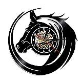 sufengshop Arte Astratta della Parete del Cavallo Orologio da Parete con Testa di Cavallo Selvaggio Orologio da Parete equestre Orologio Moderno Orologio in Vinile Orologio da Parete Amanti 30cm