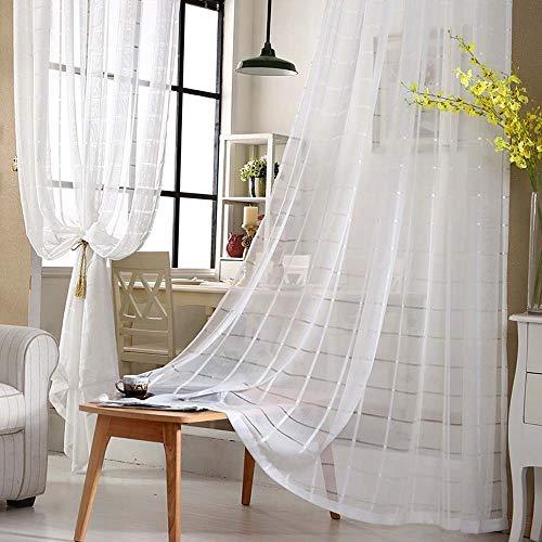 YangD Cortinas Salon Moderno Blancas, Lino Visillos Cortinas Dormitorio Tul Suave con Ojales para Salón Comedor Sala de Estar Cocina (Size : 59