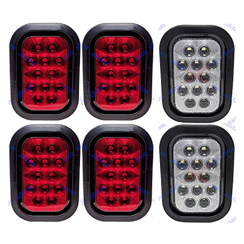 """[ALL STAR TRUCK PARTS] 5x3"""" 4x Red 2xWhite Rectangle 12 LED Stop/Turn/Tail & Backup/Reverse Truck Trailer Hitch Light Grommet & 3 Wire Pigtail Plug Kit"""