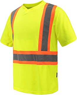 Hi Vis Safety V-Neck Shirt Workwwar with Moisture Wicking Mesh Birdseye Yellow M