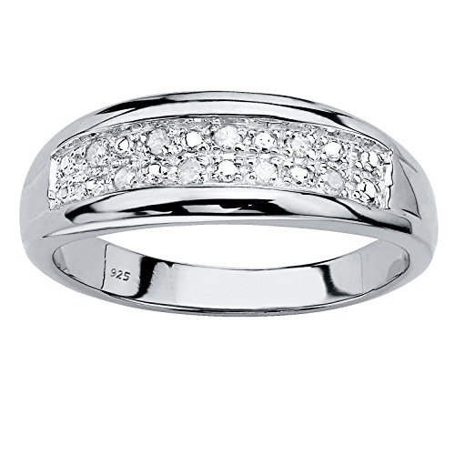 Men's Platinum over Sterling Silver Round Genuine Diamond Double Row Wedding Band Ring (1/8 cttw, I Color, I3 Clarity) Size 10