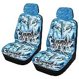 Housse de siège de voiture universelle - Accessoires lavables et confortables - Anti-poussière - Imprimé loup - Résistante à l'usure - Antidérapant