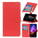 NEINEI Funda para OnePlus 9,Carcasa PU Cuero Libro con [Ranura para Tarjeta] [Soporte Plegable] [Magnético],Minimalismo Estilo Billetera Flip Phone Cover Case,Rojo