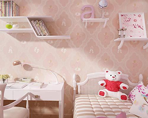 Vliestapete verdickte moderne nette u. Warme Ballerina-Mädchen, 0.53M X 10M rosa Tapete für Hauptdekoration-Wohnzimmer-Küche