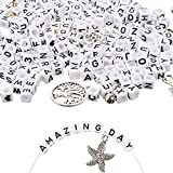 1670 PCS Letter Beads Acrylic Beads for Bracelets,Upgrade Heflashor Cube Letter Beads Kits,Square Alphabet Beads A-Z and Heart Beads for Jewelry Making/Bracelets/Necklaces,Large 6 X 6mm (White)