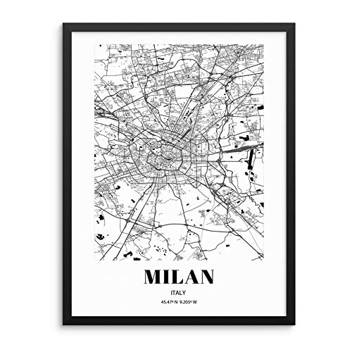 """Milan City Grid Map Art Print Italy Cityscape Road Map Wall Poster 11""""x14"""" UNFRAMED Black White Modern Urban Home Decor Artwork for Living Room, Bedroom, Entryway, Home Office or Gift (MILAN)"""
