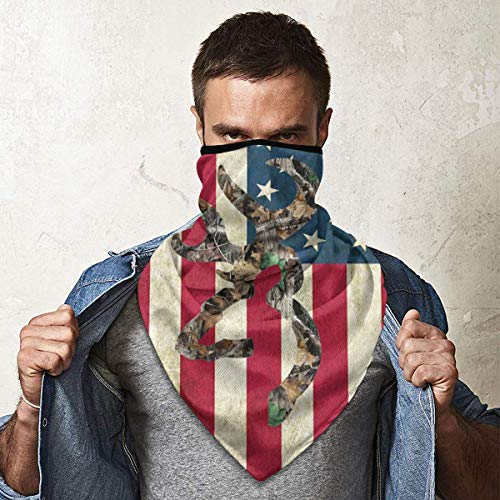 Tidyki Motorcycle Masks for Men Bandana Face Mask Bandana Face Mask Neck Gaiter Head Bands Neck Gaiters for Men - Browning Deer Camo American Flag Headscarf Sun Mask