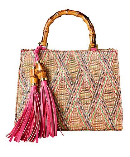 Joe Browns Damen Beach Hut Tassel Bag Strandhütte Quaste Tasche, Pink Multi, One Size