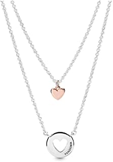 PANDORA Layered Heart PANDORA Rose Necklace, Size: 50cm, 19.7 inches - 388083-50