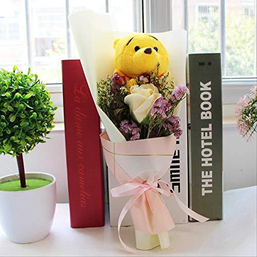 Schattige Knorretje Met Zeep Bloemen Cartoon Boeketten, Stuff Animal Knuffels Creative Valentine Graduation Gift B