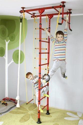 Sprossenwand Klettergerüst Heimsportgerät für das Kinderzimmer FitTop M1 Rot Raumhöhe 220 – 270 cm