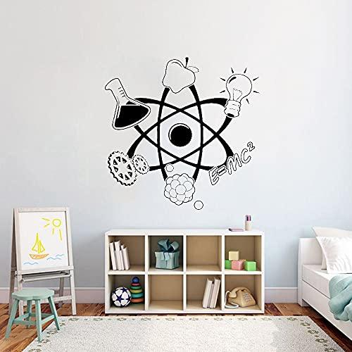 Pegatinas de pared de ciencia para habitación de niños de jardín de infantes, calcomanías artísticas de pared para sala de estar, calcomanías de oficina, decoración A6 57x57cm
