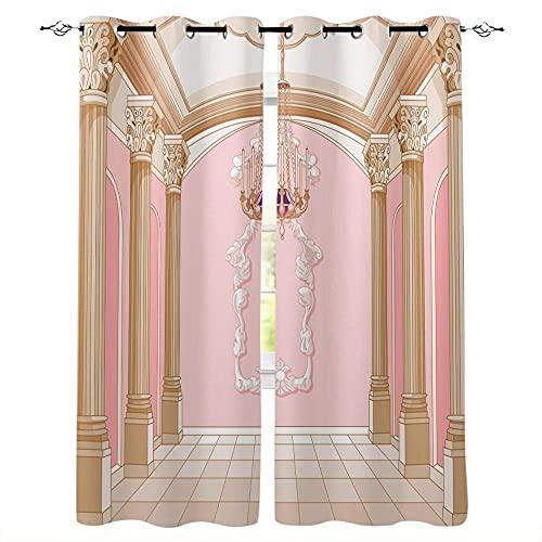 YUESUO Mörkläggningsgardiner för sovrum vardagsrum ögla fönsterbehandlingar arkitektur romersk kolonn rosa design supermjuk termisk isolerad barn barnkammare ring topp gardiner heminredning 2 paneler 3D