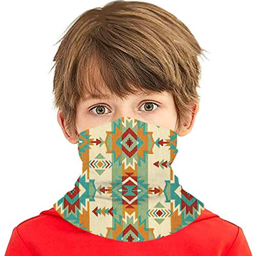 Summer Children'S Neck Gaiter Face Cover Dust Proof Sun Uv Protection Tribal Native American African Ethnic Symbols