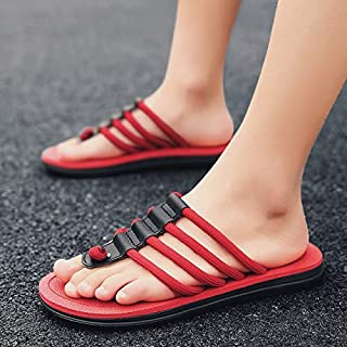 Summer Knit Men's Flip Flops Outdoor Beach Slippers Plus Size Indoor Home Sandals Shoes Soft (Color : Red HY3005, Shoe Size : 45)