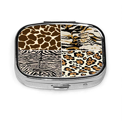 Zebra Giraffe Tiger Leopard Skin Custom Fashion Silver Square Pill Box Medicine Tablet Holder Wallet Organizer Case for Po