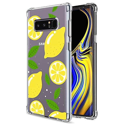 Galaxy Note 8 Case Clear with Lemon Design Shockproof Protective Case for Samsung Galaxy Note 8 Cute Summer Fruit Yellow Pattern Flexible Slim Rubber Floral Cell Phone Cover for Girls Women